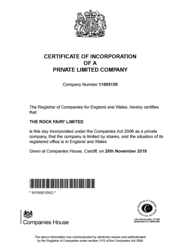 The Rock Fairy Certificate of Incorporation